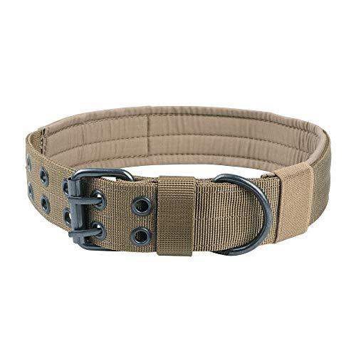 EXCELLENT ELITE SPANKER 1.5' Width Military Dog Collar Adjustable Metal D Ring & Buckle Working Dog Collar for Medium Large Dogs(CoyoteBrown-L)
