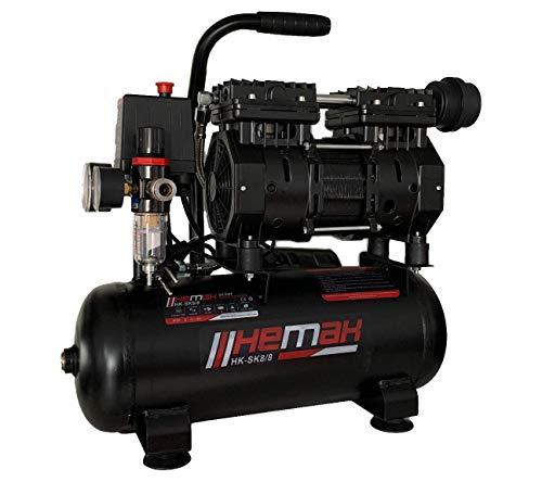 HEMAK HK-SK8/8 Silent Kompressor Druckluft 8 bar 8 l Flüster ölfrei 65 dB 550 W 1 Zylinder Druckluft-Kompressor