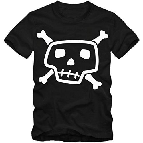 Skull T-Shirt | Jolly Roger | Black Jack | Totenkopf | Piraten | Herrenshirt, Farbe:Schwarz (Deep Black L190);Größe:L