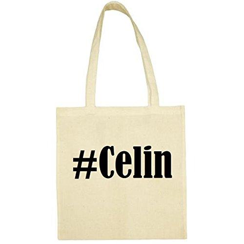 Tasche #Celin Größe 38x42 Farbe Natur Druck Schwarz
