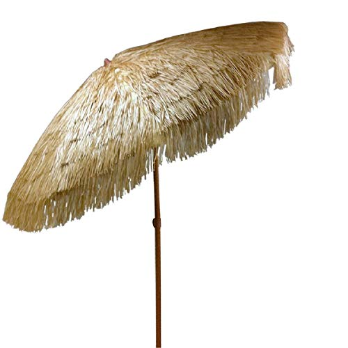 Tiki Umbrella 8 Feet Outdoor Patio Umbrella Hula Thatched Tropical Hawaiian Patio Straw Umbrella Raffia Umbrella with 8 Ribs, Press Button Tilt Natural Color (8 FT, Natural Tiki)