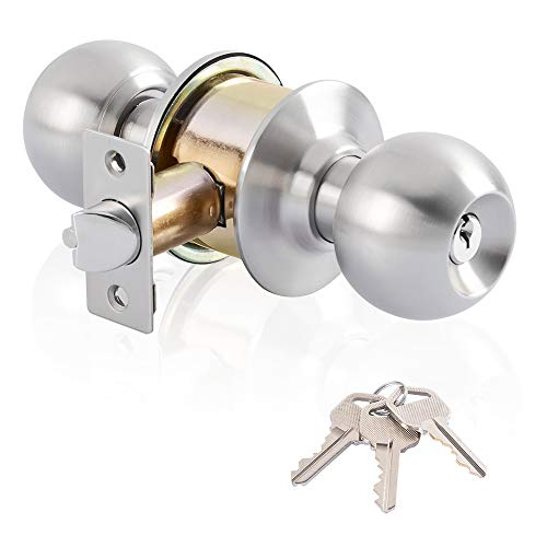 Keyed Entry Door Lock& Ball Door knobs with Lock and Key Entrance Lever Door Handle (Privacy/Passage) in Satin Stainless Steel