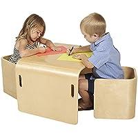 3-Piece ECR4Kids Bentwood Multipurpose Kids Table & Chair Set (Natural)