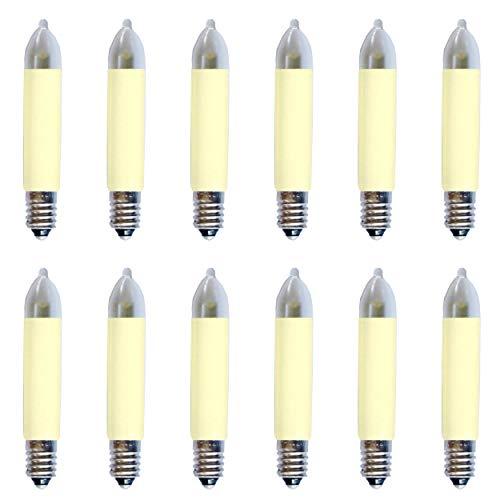 AUSWAHL Menge - netSells - 12er Set - LED Kleinschaftkerze 8-55V 0,1-0,2 W - Ø 11 mm, Länge 65 mm- für INNEN - Ersatzlampe für Schwibbogen u. Lichterketten - warmweiß - elfenbein