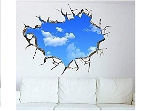 NEW muursticker Blue Sky Muursticker Mini behang hemel blauw wolken muur plaksticker muur plaksticker muur plafond tattoo vinyl sticker decor wanddecoratie (zelfklevend) - merk HUKITECH