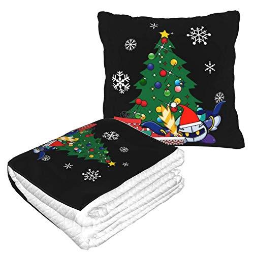 Meta Knight Around The Christmas Tree Kirby Reisedecke und Kissen 2 in 1 leicht zu tragen, Reise-Nackenkissen und Decke