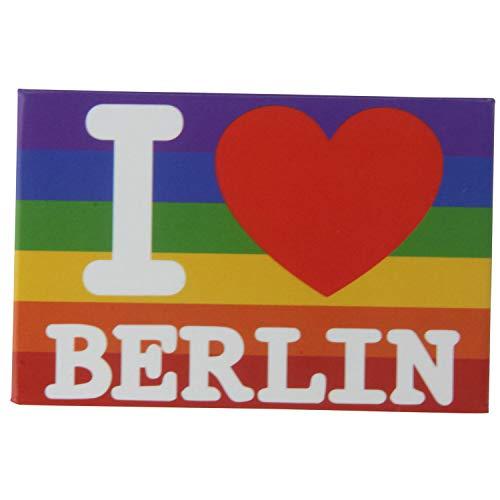 Kühlschrank-Magnet I LOVE Berlin   Pride-LGBT-Flagge   Starker Halt   Foto-Magnet 8 x 5,5 cm   typisches Souvenir
