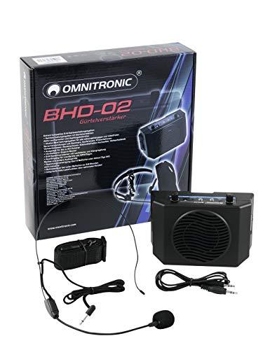 Omnitronic BHD-02 Gürtelverstärker | Extrem kompaktes 5-W-Nahbeschallungssystem | Sprache verstärken | Gruppenführung mit Zusatzpower