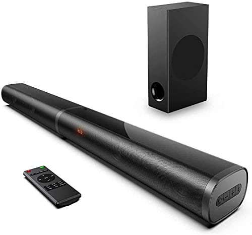 BOWMAKER Tech Barras de Sonido de 190 W para TV, 2.1 HDMI ARC Barra de Sonido de 32 Pulgadas con subwoofer, bajo Ajustable, para 4K y HD TV, HDMI ARC, óptico, AUX, USB, Black