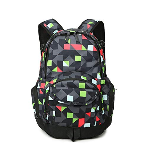 LaLa POP Nylon Plaid Color Matching Backpack Female Outdoor Sports And Leisure Backpack Multi-pocket Travel Bag Male Student Computer Bag (Color : Black)