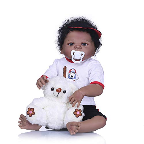 Lullaby 23inch Ethnic Baby Reborn Dolls Boy Anatomically Correct Realistic Full Body Silicone Newborn Dolls with Plush Toys