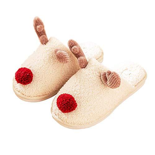 UNiiyi Pantofole da Interno con Renna Natalizia per Donna Ragazza Cute Animal Warm Fleece Morbido Peluche Pantofola da Interno