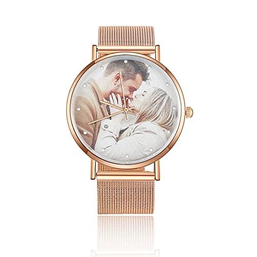 Reloj de Pulsera Personalizado con Foto para Mujer con Texto Grabado Reloj de Moda con Metal Pulsera Oro Rosa Esfera Negra Regalo de Cumpleaños a Prueba de Agua para la Madre Novia Familia (Oro Rosa)