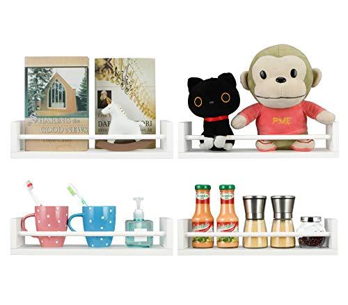 EasyPAG Paquete de 4 estantes flotantes versátiles de madera para pared, organizador de especias, estante de exposición, color blanco