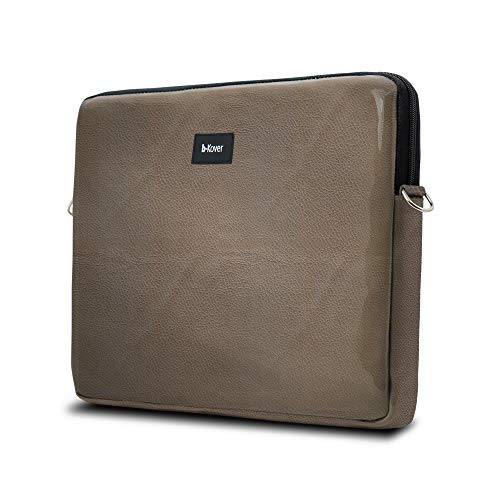 b-Kover Case Customised with Your Initials with Waterproof Protection, Soft Touch Zip Bag for Work, School and Travel, Made in Spain (17 Inches, Brown)