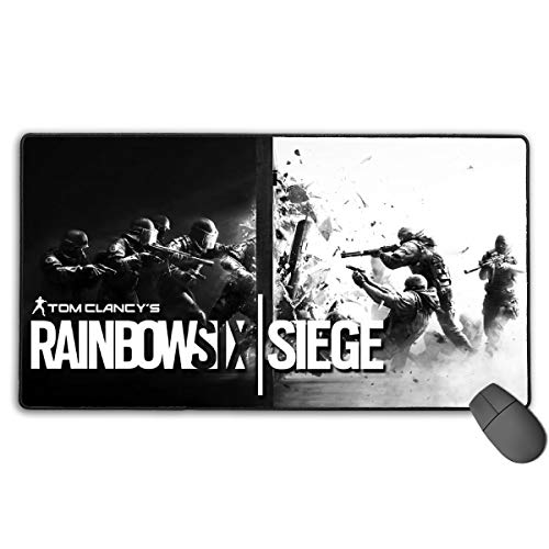 Extra Large Gaming Mouse Pad with Stitched Edges, High-Performance Desk Desk Pad Designed for Gaming Sensors 15.7 X 29.5 in,Game Theme Rainbow Six Siege Background