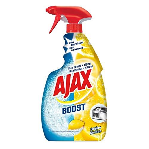 AJAX Boost - Limpiador ultra desengrasante para cocina bicarbonato y limón, 750 ml (lote de 6)