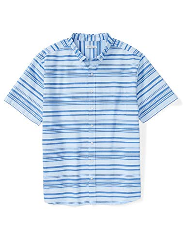 Amazon Essentials Men's Short-Sleeve Pocket Oxford Shirt fit by DXL, Blue Horizontal Stripe, 6XL