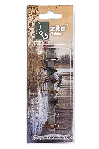 Zite Fishing Goldkopf-Nymphen Sortiment - 8 Fliegen-Fischen Angel-Köder zum Angeln - Gebunden am scharfen Fliegen-Haken