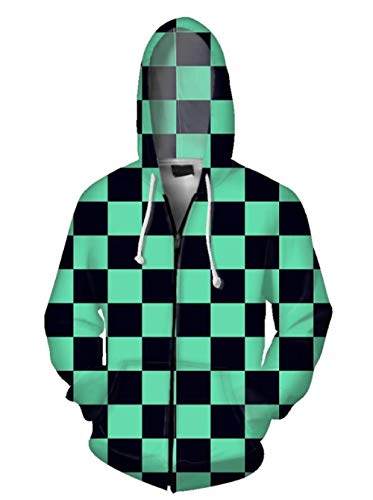 WHYSS Kapuzenpullover,Herren Zip Hoodie Jugend Schöne Sweatshirt Dämonen Klinge 3D Anime Sweater Jacke Unisex Grün M