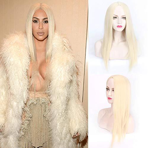 Peluca de Cabello Lacio En Oro Claro Beige, Cabello SintéTico de Fiesta de Halloween de Disfraces de Kardashian