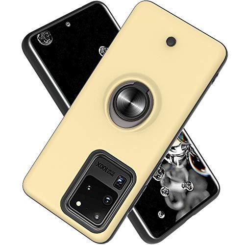 FAWUMAN Hülle für Samsung Galaxy S20 Ultra(6.9 inch mit Standfunktion, Dekomprimierungsknopf, Rotationsgyroskop, PC + TPU Handyhülle Stossfest Case -Golden