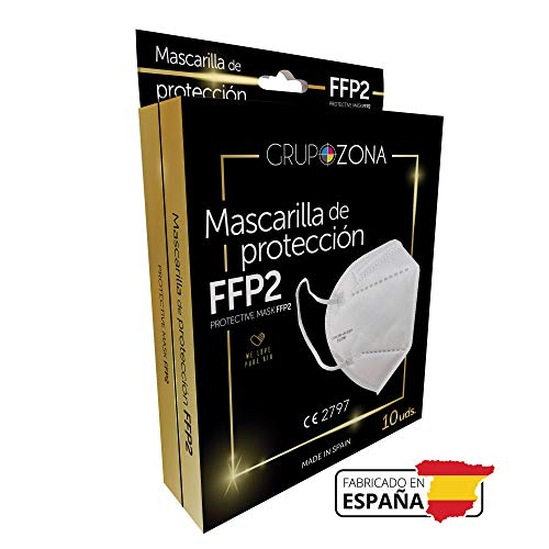 50 uds. Mascarillas FFP2 blancas homologadas y fabricadas en España CE 2797, filtrado de 5 capas - GrupoZona - Mascarilla ffp2 protección respiratoria