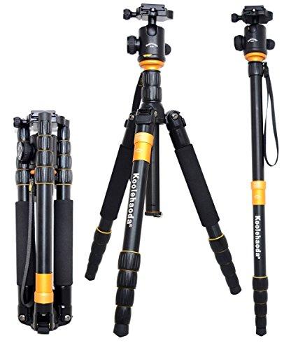 Koolehaoda KQ-666 Trípode de cámara SLR de aluminio Monopod Y Cabeza de bola Viaje compacto portátil para cámara réflex Canon Nikon Petax Sony Trípode Carga máxima: 15 kg