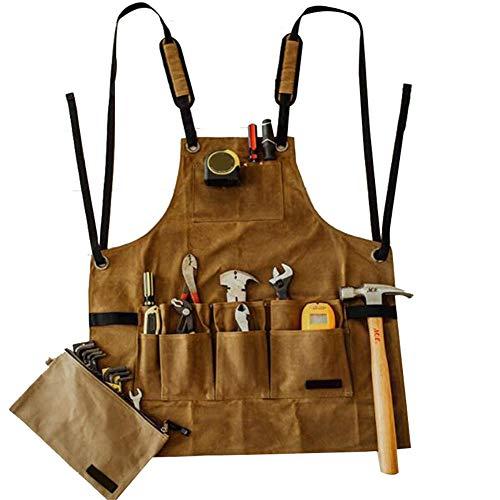 Acreny Schürze Sammler Leinwand Öl Wachstuch mehrere Taschen Werkzeuge Aufbewahrung Schürze Wasserdicht für BBQ Männer Luftaugenhaken.