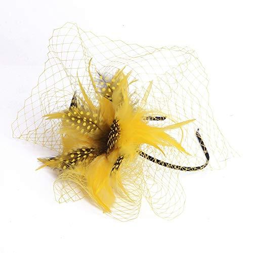 Dlorvoguehandmade - Tocado de flores amarillas con velos, diademas para cóctel, boda, fiesta, mujer, accesorio para el pelo