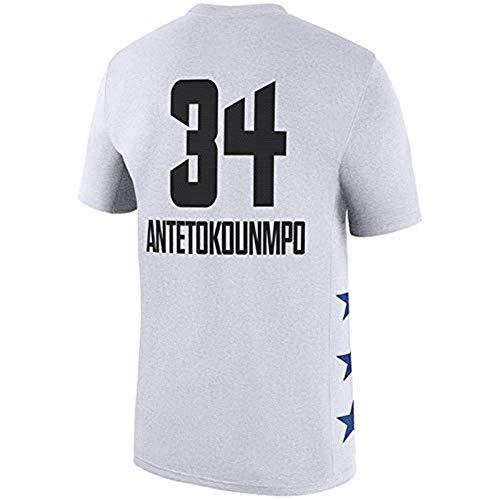 SHOP YJX Camiseta All-Star De La NBA Camiseta Milwaukee Bucks Camiseta Estampada Giannis Antetokounmpo (S-3XL) (Color : White, Size : S)