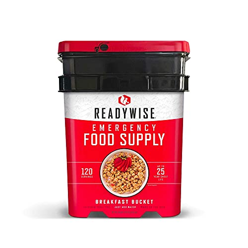 ReadyWise Wise Company, Emergency Food Supply, Freeze-Dried Breakfast Variety, 120 Servings