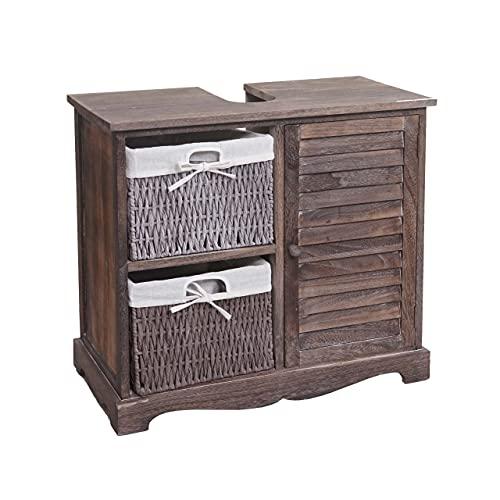 Mendler Waschbeckenunterschrank HWC-H20, Badezimmer Waschtischunterschrank, Massiv-Holz Korb-Schublade 60x65x31cm - Shabby braun