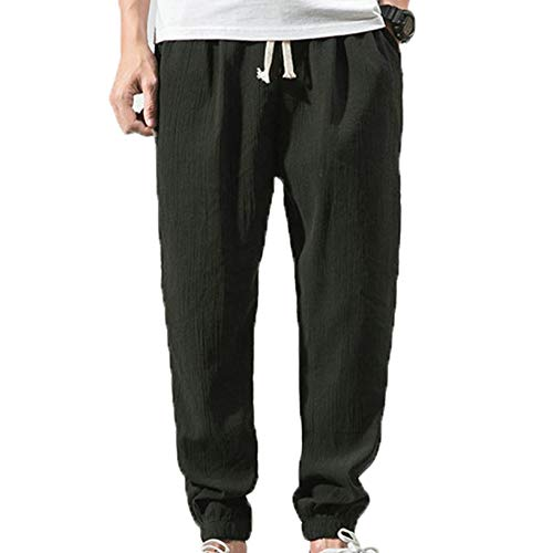 Pantalones Casuales para Hombre Anti-Pilling Estilo Simple Pantalón Acogedor para Primavera y otoño Pantalones de Cintura elástica con cordón