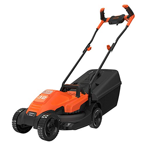 Black+Decker Electric 1200-Watt,12 Inch Winged Blade, 35L Grassbox Lawn Mower with Bike Handle (Red and Black)