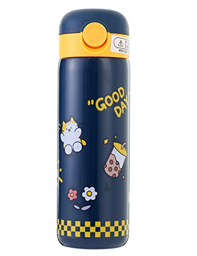 Kids Vacuum Insulated Water Bottle With Straw,14Ounce,Leak-Proof Stainless Steel Thermos for Children,Cat Thermos,Best gifts for children