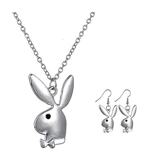TWWTHX Gothic Halskette Damen Langohr Kaninchen Mode Anhänger Halskette Charme Party Accessoires Ohrringe Halskette Set (Silber)