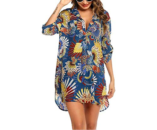 Damen Sommer Strandkleid Bikini Cover Up 3/4Arm Sommerkleid V-Ausschnitt Tunika Blusekleid Strand Kleid Strandponcho Vertuschen Shirt S-3XL (Hellblau A, M)