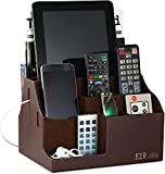 EZR Life All-In-1 Remote Control Holder, Caddy, Organizer, Also Holds Phones, Tablets, Books, Glasses (8 Compartments, Up To 14 Remotes) - Brown Leather
