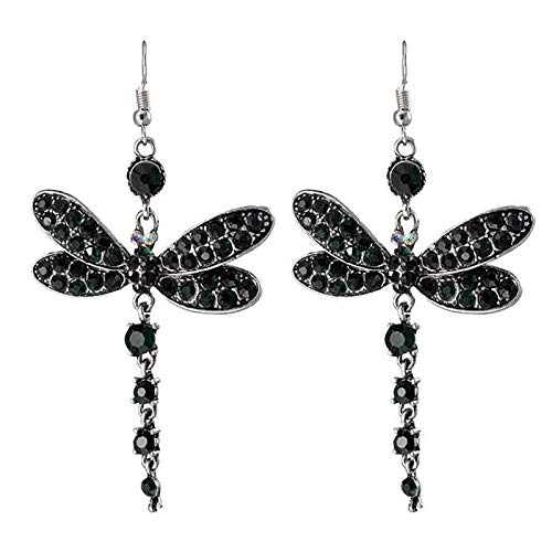 Momolaa Cute Dragonfly Animals Valentine's Day Earrings for Women, Creative Hollow Pattern Ladies Ear Buckles Jewelry Gifts (Black)
