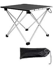 Saiveina キャンプテーブル アルミ製 ロールテーブル ミニ コンパクト アウトドア用 バーベキューに最適 折りたたみ式 耐荷重30kg 軽量 耐熱 収納バッグ付 一年間保証