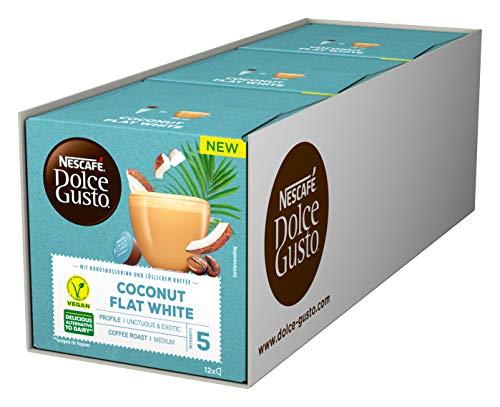NESCAFÉ Dolce Gusto Coconut Flat White, 36 Kaffeekapseln (vegan, mit Kokosnussdrink), 3er Pack (3 x 12 Kapseln)
