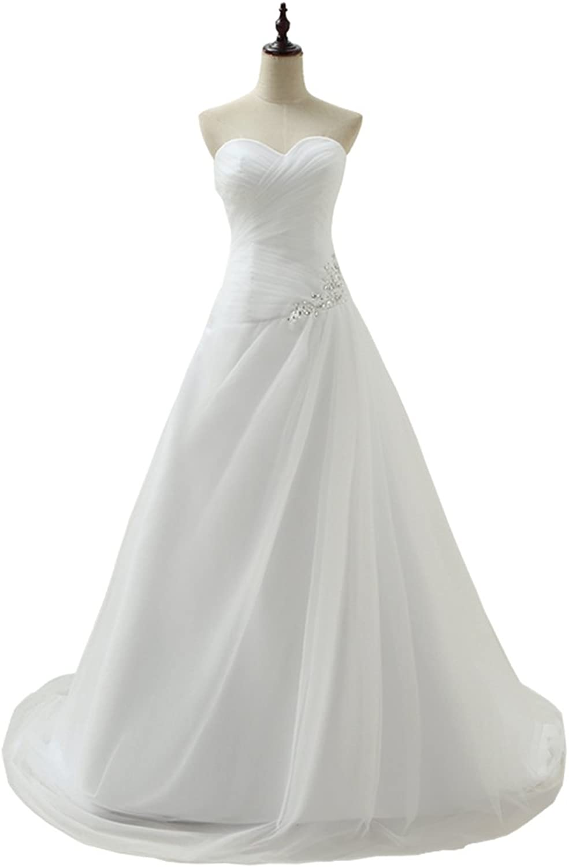 Honeydress Women's Pure White Sweetheart Beading Appliques Train Wedding Dresses