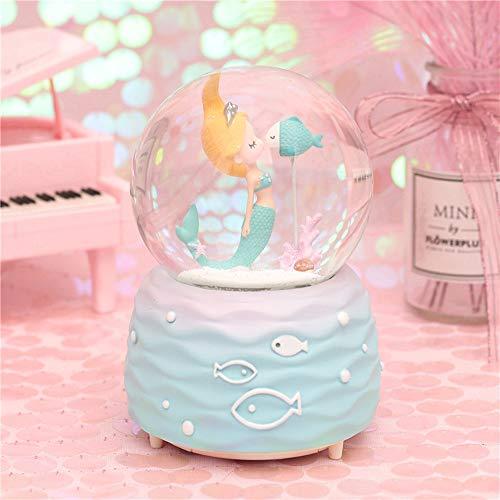 Schneekugel Spieluhr Kinder, KinkGlass Schneekugel mit Einhorn und Musik Spieluhr für Mädchen Geschenk, (F#)
