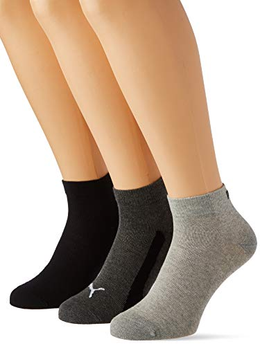 PUMA Unisex-Child Kids' BWT Quarter (3 Pack) Socks, black, 35-38