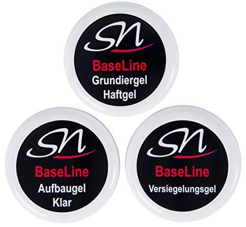 Haftgel Grundiergel, Aufbaugel dickviskos und Versiegelungsgel Nagelgel UV Gel Set klar 3 x 15ml