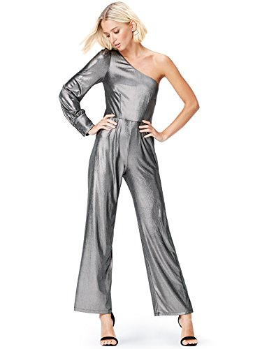 Amazon-Marke: find. Jumpsuit Damen Metallic-Look und One-Shoulder-Design, Silber (Silver), 38, Label: M