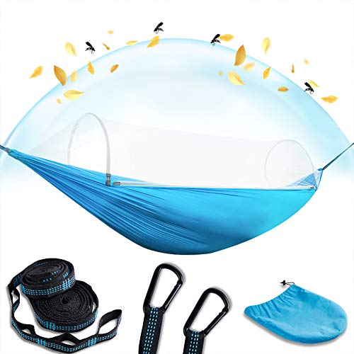 Camping Hammock with Mosquito Net 2 in 1 Ripstop Parachute Nylon Portable Hammock Set with Tree Straps & Carabiners Bug Insect Netting Easy Assembly Lightweight Swing Bed for Outdoor Activities