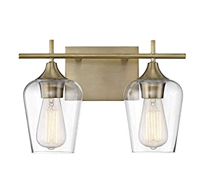 "Savoy House 8-4030-2-322 Octave 2-Light Bathroom Vanity Light in a Warm Brass Finish with Clear Glass (14"" W x 9"" H)"