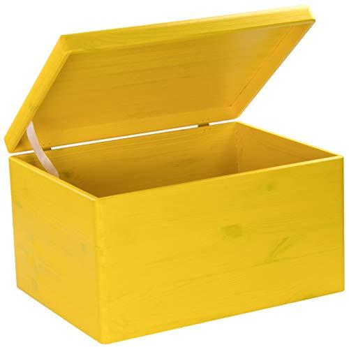 Caja amarilla de Madera con Tapa multiusos
